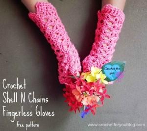 Crochet Shell N Chains Fingerless Gloves ~ Erangi Edeshika - Crochet For You