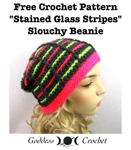 Stained Glass Stripes Beanie Free Crochet Pattern
