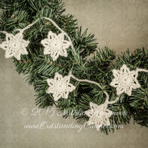 Crochet Stars Christmas Vintage Garland by Natalia Kononova of Outstanding Crochet