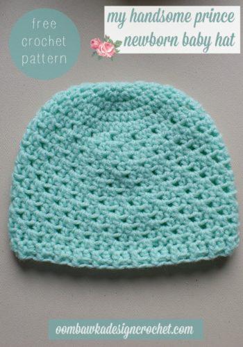 Newborn Crochet Beanies Patterns Free : My Handsome Prince Newborn Baby Hat ~ FREE Crochet Pattern