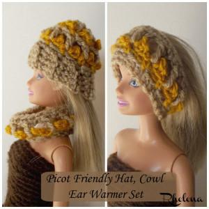 Picot Friendly Hat & Cowl for the Fashion Doll ~ Rhelena - CrochetN'Crafts