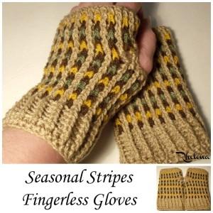 Seasonal Stripes Fingerless Gloves ~ Rhelena - CrochetNCrafts