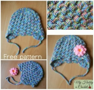 Shells Baby Hat with Ear Flaps by My Hobby is Crochet