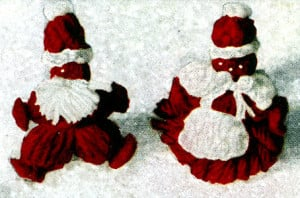 Mr. and Mrs. Santa Lapel Pins by Free Vintage Crochet