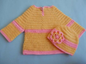 Crochet Baby Sweater and Hat by aamragul of Crochet/Crosia Home