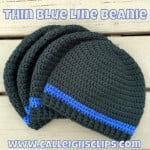 Thin Blue Line Beanie by Elisabeth Spivey of Calleigh's Clips & Crochet Creations
