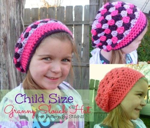 Child Size Granny Slouch Hat Free Crochet Pattern