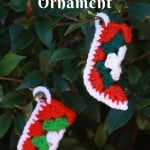 Granny Square Christmas Stocking Ornament by Cook Clean Crafts