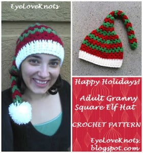 Adult Granny Square Elf Hat by EyeLoveKnots