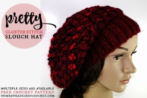 Pretty Cluster Stitch Slouch Hat by Oombawka Design
