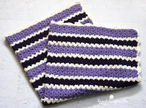 Cluster V-Stitch Striped Blanket by Repeat Crafter Me