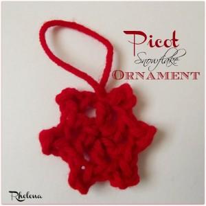 Picot Snowflake Ornament by Rhelena of CrochetN'Crafts