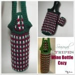 Seasonal Stripes Wine Bottle Cozy by Rhelena of CrochetN'Crafts