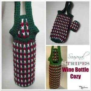Seasonal Stripes Wine Bottle Cozy by Rhelena of CrochetN'Crafts