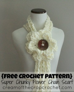 Super Chunky Flower Chain Scarf by Cream Of The Crop Crochet