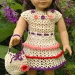 American Girl Doll Wildflower Dres with Ruffles Drawstring Handbag by ABC Knitting Patterns
