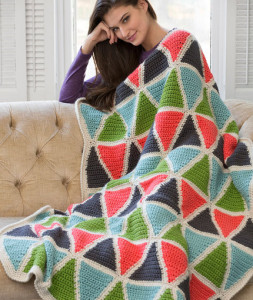 Colorful Triangle Throw by Marianne Forrestal for Red Heart.