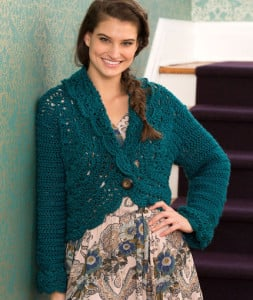 Buttoned Lace Cardigan by Kimberly K. McAlindin for Red Heart