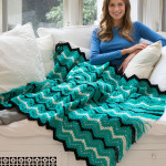 Fringed Zigzag Throw by Katherine Eng for Red Heart