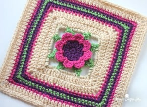 3D Crochet Flower Granny Square by Repeat Crafter Me