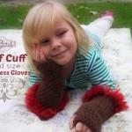 Fluff Cuff – Child Size Fingerless Gloves by Stitch11