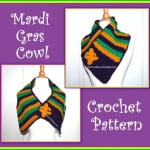 Mardi Gras Cowl with Fleur de Lis Pin by Sara Sach of Posh Pooch Designs