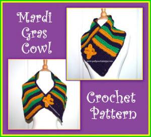 Mardi Gras Cowl with Fleur de Lis Pin by Sara Sach of Posh Pooch Designs