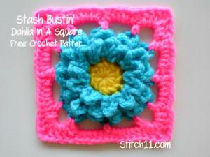 Stash Bustin' Dahlia in a Square by Stitch11