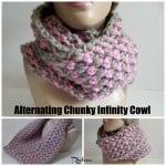Alternating Chunky Infinity Cowl by Rhelena of CrochetN'Crafts