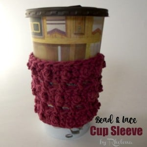 Bead and Lace Cup Sleeve by Rhelena of CrochetN'Crafts