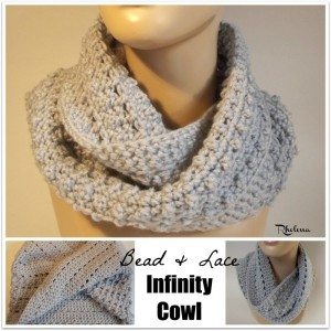 Bead and Lace Infinity Cowl by Rhelena of CrochetN'Crafts