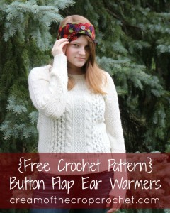 Button Flap Ear Warmers by Cream Of The Crop Crochet