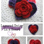 Layered Daisy in a Heart by Cre8tion Crochet