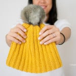 Lolly-Poms Easy Ribbed Crochet Beanie by One Dog Woof