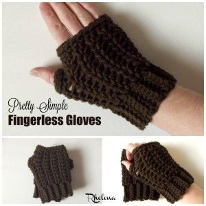 Pretty Simple Fingerless Gloves by Rhelena of CrochetN'Crafts