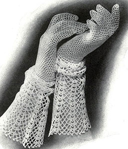 Gloves with Lace Cuff by Free Vintage Crochet