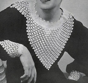Clover Stitch Collar and Cuffs #2129 by Free Vintage Crochet