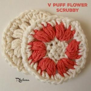 V-Puff Flower Scrubby by Rhelena of CrochetN'Crafts