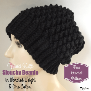 Winter Drifts Slouchy Beanie in Worsted Weight by Rhelena of CrochetN'Crafts