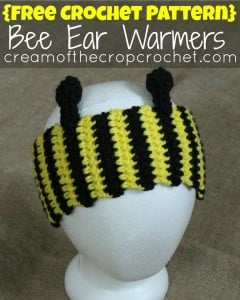 Bee Ear Warmers by Cream Of The Crop Crochet