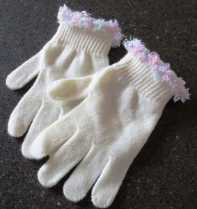 Fun Fur Trimmed Gloves by My Recycled Bags