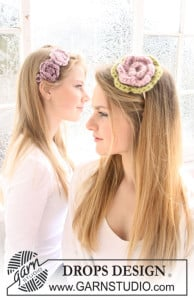 Hair Band with Crochet Flowers by DROPS Design