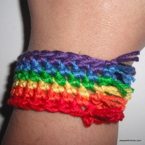 Simple Rainbow Bracelet by Jessie At Home - Crochet Pattern Bonanza