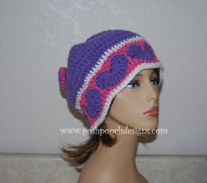 Happy Hearts Beanie and Slouchy Hat by Sara Sach of Posh Pooch Designs