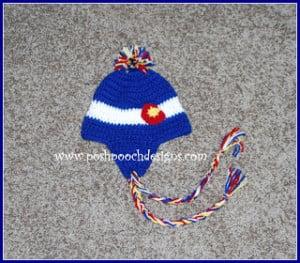 Colorado Flag Ear Flap Beanie Hat by Sara Sach of Posh Pooch Designs