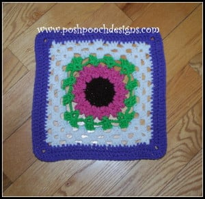 May Flowers Granny Square by Sara Sach of Posh Pooch Designs