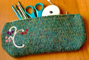 Felted Hook / Pencil Case by Petals to Picots