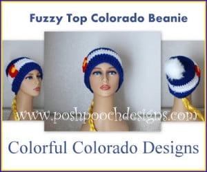 Fuzzy Top Colorado Flag Beanie by Sara Sach of Posh Pooch Designs