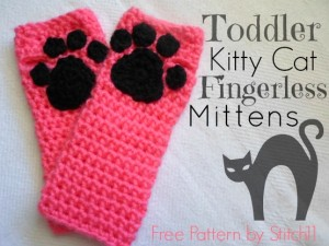 Toddler Kitty Cat Fingerless Mitts by Stitch11