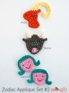 Zodiac Crochet Appliques Set #2: Aries, Taurus, and Gemini by Moogly